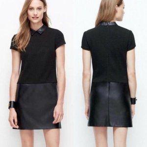 Ann Taylor Faux Leather Shirt Dress Black 12